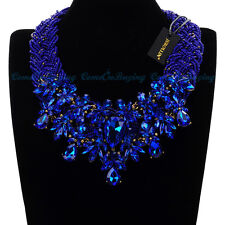 Fashion Resin Beads Chain Crystal Chunky Choker Statement Pendant Bib Necklace