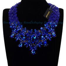 Fashion Resin Beads Chain Crystal Chunky Choker Statement Pendant Bib Necklace