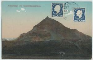 Iceland 1924? card with 2x 4 A. stamp, REYKJAVIK cancel