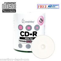 100-Pack SmartBuy Blank CD-R CDR 52X 700MB/80Min White Top Recordable Disc