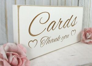 Cards Wedding Sign Free Standing Vintage Shabby & Chic White Wooden