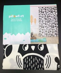 Forest Friends Shower Curtain 72in x 72in Black/White - Pillowfort™ New