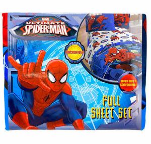 Spider-Man FULL 4 Piece Sheet Set Marvel Comics Microfiber Soft Blue Red