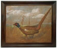 LATE 19TH C AMERICAN ANTIQUE SIGNED ORIG COLOR PASTEL DRAWING OF PHEASANT FRAMED