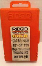 Ridgid 1/2 -3/4 Inch Bspt High Perf Titanium Nitride Coated Univ. Pipe Die 57082