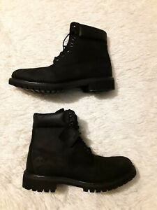 "NEW Timberland 6"" Premium Waterproof Black Nubuck Leather Boots 10073 Size 11 M"