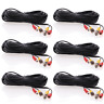 6 lot 100ft Security Camera Cable CCTV Video Power Wire BNC RCA Black Cord DVR