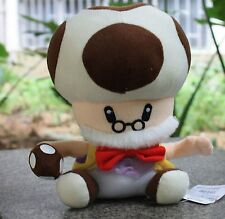 "Super Mario Bros Figure Papa Toad Mushroom Man Stuffed Plush Soft Doll 9"" X'mas"