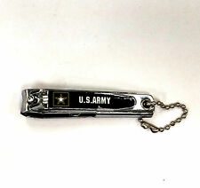 Army Nail Clippers Pocket Knife Metal Chrome Keychain United States US Military