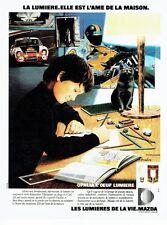 PUBLICITE ADVERTISING 0217  1978  Mazda  la lumière Opalia l'oeuf   chat