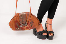 Vintage brown leather clutch grab bag patchwork animalskin M&Ahandbags by MIRIAM