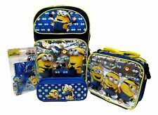 """DESPICABLE ME 2 MINION 16"""" BACKPACK,LUNCHBOX,PENCIL CASE,STATIONARY SET-NEW!"""