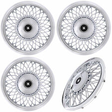 "Set of (4) Piece 15"" inch CHROME WIRE SPOKE Classic Hub Caps Wheel Covers Caps"
