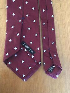 Oroton Australia 100% Silk Tie - Handmade in Australia - Burgundy Floral