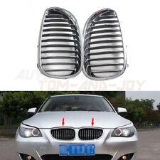 Front Hood Pair Chrome Kidney Grille For BMW E60 525i 528i 535i 545i M5 2003-10