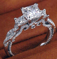 2.88Cts Princess Cut 14K White Gold  Engagement Three-Stone Ring Set & Certified