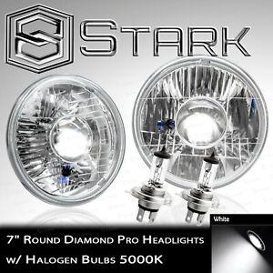 "H6024 Head Light Glass Housing Lamp Projector Conversion Chrome 7"" Round - PAIR"
