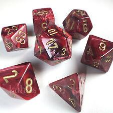 Chessex Dice Poly - Vortex Burgundy w/ Gold - 7 - 27434 Free Bag DnD