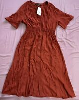 ZARA Women's Burnt Orange Button Front V-Neck Dress Size L Large New With Tags