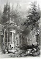 Istanbul Uskudar Karacaahmet Mezarlığı CEMETERY TOMB ~ 1839 Art Print Engraving