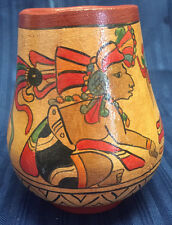 VINTAGE POTTERY VASE HAND PAINTED TRIBAL