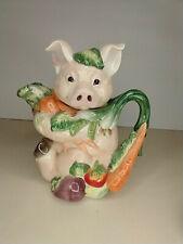 Fitz and Floyd Percy the Pig Ceramic Figurine Kitchen Teapot Tea Pot