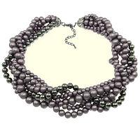 Collier Ras De Cou imposant soirée tresse perles mariage - perles nacrées Gris