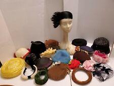 Large Lot Vintage 1950s ? Ladies Hats Church Feathers Fur Veiled