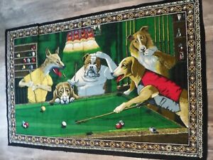 VINTAGE DOGS PLAYING BILLIARDS POOL TAPESTRY  56X37 APPROX