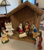 Miniature 8pc Porcelain Nativity-Angel Jesus Mary Joseph Wisemen Shepherd Crèche