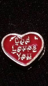 """God Loves You"" Red Heart Charm for Living Memory Locket/Origami OWL Locket!"