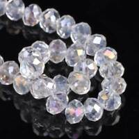 3~18MM Clear AB 5040# Faceted Rondelle Loose Crystal Glass Beads for DIY Jewelry