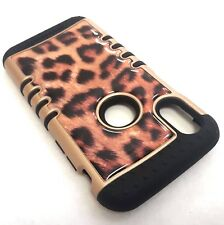 For iPhone X - Hybrid HARD & SOFT Rubber Armor Case Cover Brown Leopard Cheetah