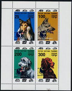 Batum m/s of 6 MNH Dogs, Collie, Red Setter, Philakorex 1994 o/p
