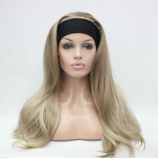 new 3/4 wig with headband honey ash blonde with blonde highlights long half wig