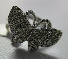 Ring Large Butterfly Rhinestone Cluster Brilliant Beautiful Size 7.5 NWT T26