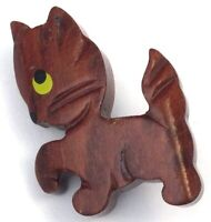 VINTAGE CAT BROOCH CARVED WOOD HAND PAINTED FACE FIGURAL COSTUME JEWELRY