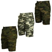 Forge Mens Big & Tall Size Camo Army Cargo Shorts Casual Summer Half Pants