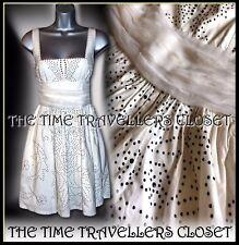 Kate Moss Topshop Black Stud Ivory Corset Vintage 50s Sun dress Rockabilly UK6 8