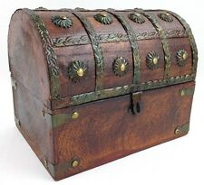 "Wooden Pirate Treasure Chest Decorative Storage Box (8""x6""x6"")"