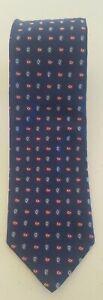 Robert Talbott Mens Vibrant Blue Patterned Luxury XL Tie Hand Made 100% Silk USA