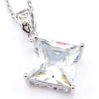 Natural Square Shaped White Fire Topaz Gemstone Silver Necklace Pendants