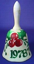 Vintage 1978 Handpainted Porcelain Christmas Holiday Bell