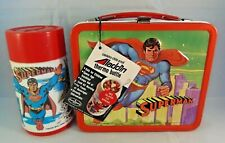 1978  VINTAGE ALADDIN  SUPERMAN  LUNCHBOX & THERMOS UNUSED TAG