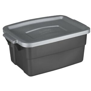 Rubbermaid Commercial RMRT030010 Gray Storage Box 3 gal. Capacity (Pack of 12)