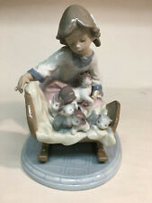 """collectible vintage porcelain figurines Lladro #5784 """"A Cradle of Kittens"""" cats"""