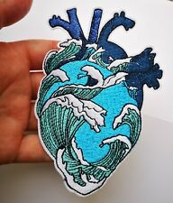 "Hokusai Large Great Wave Heart Surf Blue Sea Iron On Embroidered Patch 5"" Ocean"