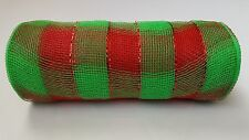 Red and Green Striped Deco Mesh 10 inches by 10 yards
