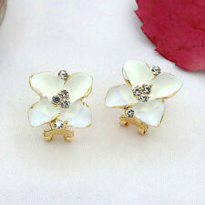 Contemporary Enameled White Flower Leverback Earrings w Clear Rhinestones