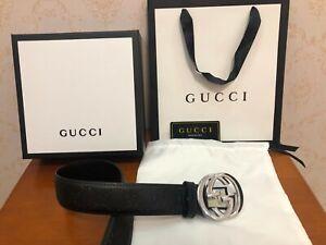 NEW Gucci Black Unisex Signature Leather Interlocking G Belt Size 110